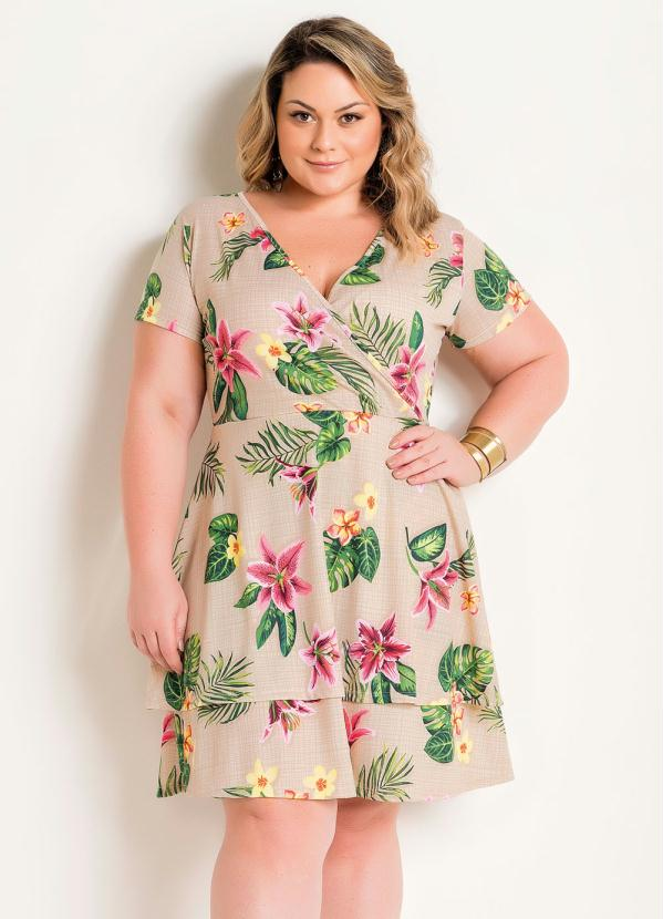 Vestido Transpassado (Floral) Plus Size com Babado