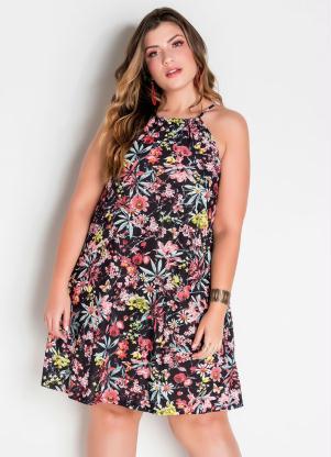 Vestido Trapézio Plus Size (Floral)