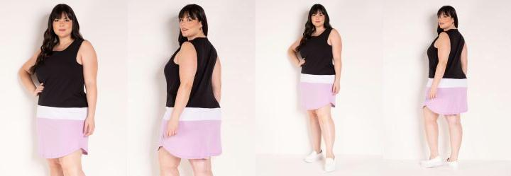 Vestido Tricolor com Barra Arredondada Plus Size