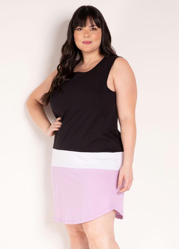 Vestido (Tricolor) com Barra Arredondada Plus Size