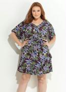 Vestido Tropical com Faixa Plus Size Quintess