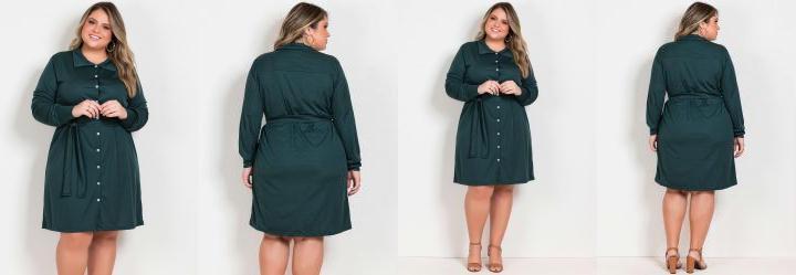 Vestido Verde com Botões Funcionais Plus Size