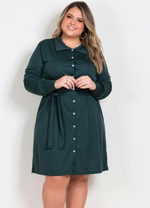 Vestido (Verde) com Botões Funcionais Plus Size
