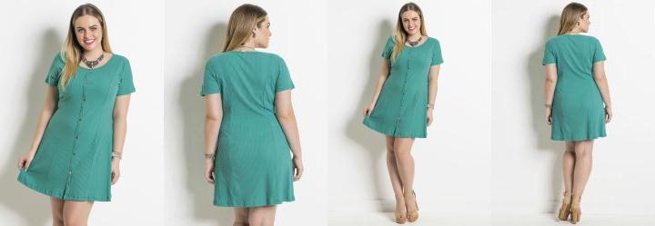 Vestido Verde Detalhe Botões Plus Size Quintess