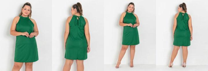 Vestido Verde Trapézio com Amarração Plus Size