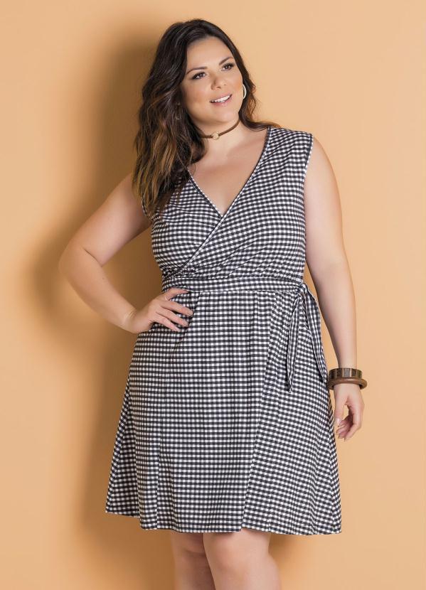 Vestido (Xadrez Vichy) Plus Size Transpassado