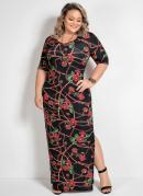 Vestido com Fendas Laterais Floral Plus Size