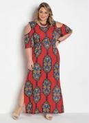 Vestido Longo Cashmere Plus Size com Fendas
