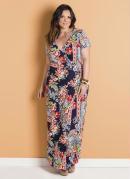 Vestido Longo Envelope Floral Escuro Plus Size