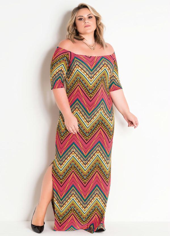 4a3ab97e5b3d Vestido Longo Étnico com Fendas Plus Size - Quintess