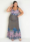 Vestido Longo Floral com Alças Plus Size