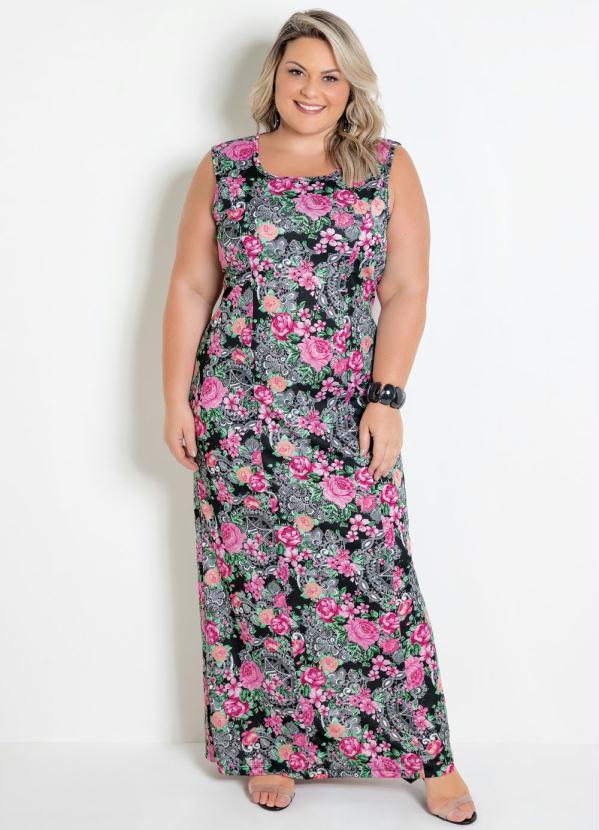 Vestido Longo (Floral) com Amarração Plus Size