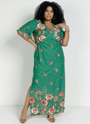 Vestido Longo (Floral Verde) com Fendas Plus Size