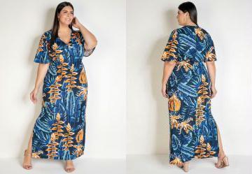 Vestido Longo Folhagem Azul com Fendas Plus Size