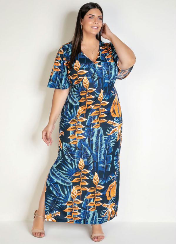 Vestido Longo (Folhagem Azul) com Fendas Plus Size