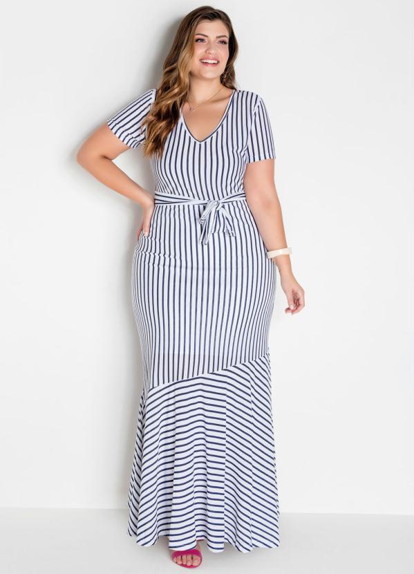 Vestido Longo (Listrado) Plus Size com Amarração