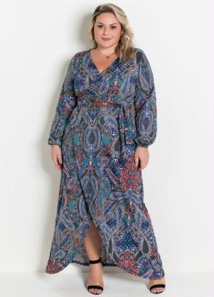 Vestido Longo Transpassado (Cashmere) Plus Size