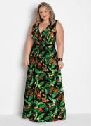 Vestido Longo Transpassado Plus Size Floral