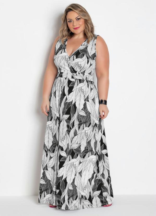 Vestido Longo Transpassado Plus Size (Folhagem)