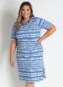 Vestido Midi Tie Dye Azul com Mangas Plus Size