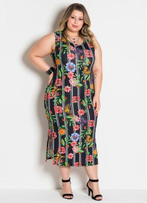 Vestido com Fendas Laterais (Floral) Plus Size
