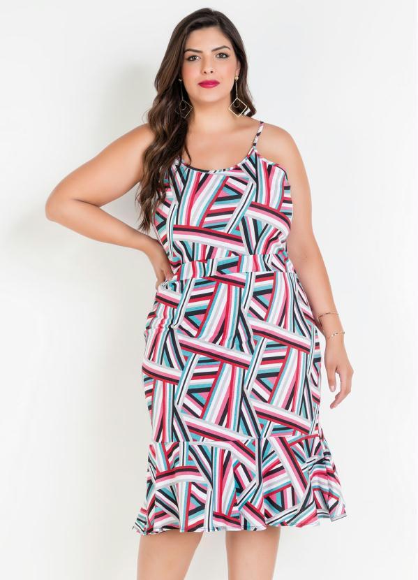 Vestido de Alças e Babado Plus Size (Geométrico)