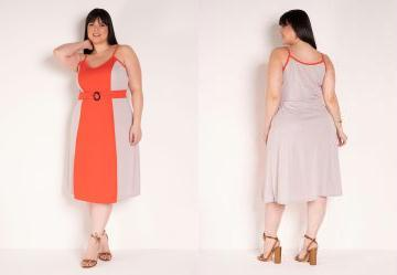 Vestido de Alças Laranja e Bege Plus Size
