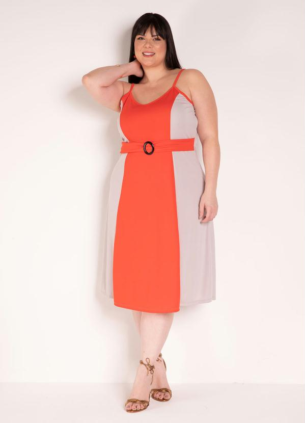 Vestido de Alças (Laranja e Bege) Plus Size