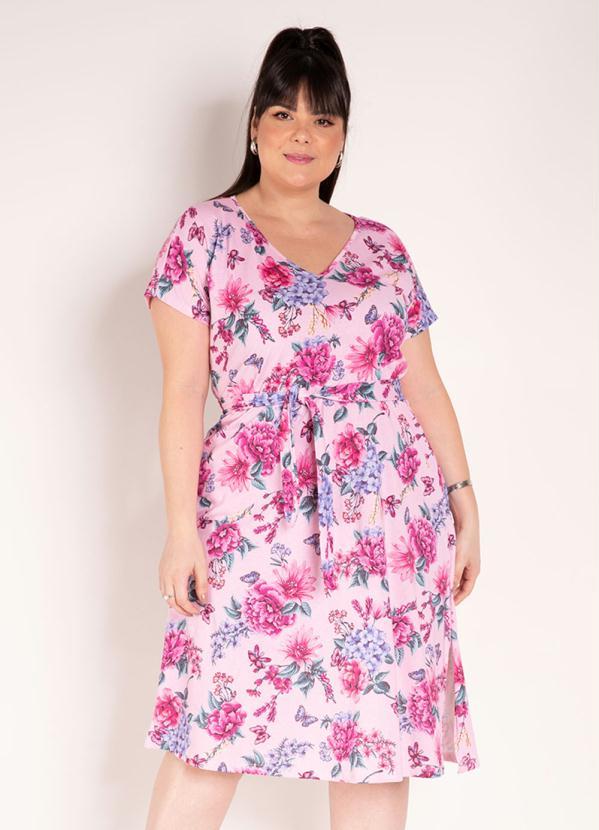 Vestido (Floral Rosa) com Faixa Grátis Plus Size