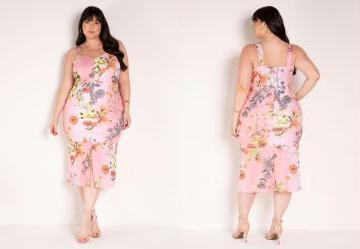 Vestido Floral Rosa com Fenda Plus Size