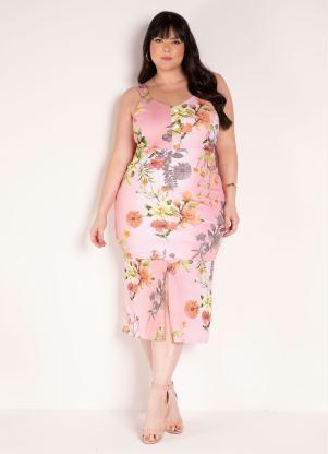 Vestido (Floral Rosa) com Fenda Plus Size