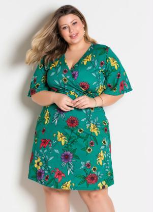 Vestido (Floral Turquesa) Transpassado Plus Size