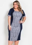 Vestido Marinho com Recorte Estampado Plus Size