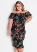 Vestido Midi Ciganinha Floral Plus Size