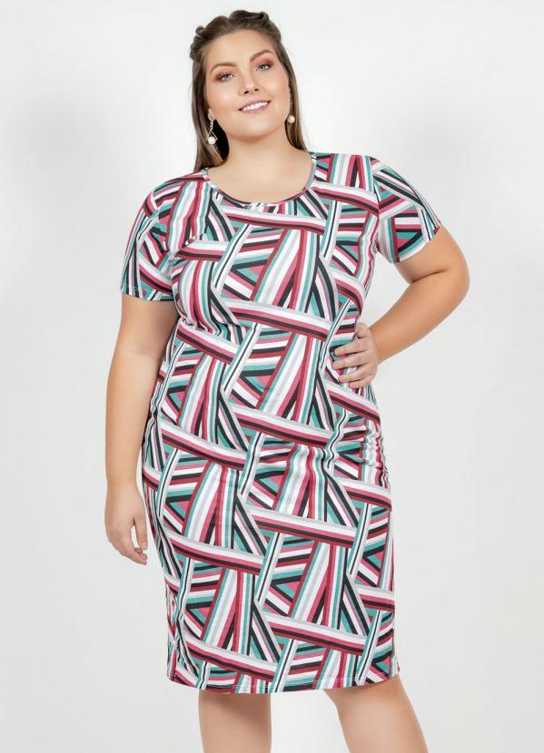 Vestido Midi (Geométrico) com Fenda Plus Size