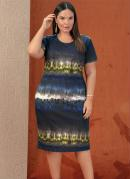 Vestido Midi Tie Dye com Fenda Plus Size
