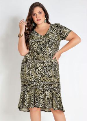 Vestido Plus Size Midi com Babado (Onça)
