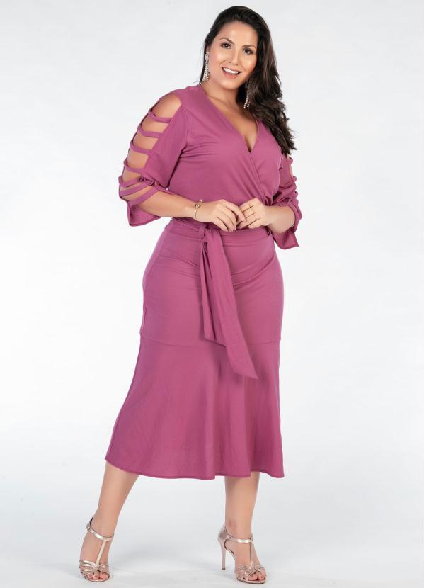 Vestido Plus Size (Rosa) Mangas Vazadas
