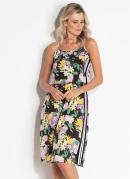 Vestido Quintess Floral Dark com Listra Lateral
