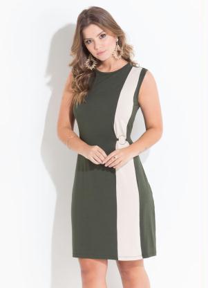 Vestido Quintess (Verde e Bege) com Argola