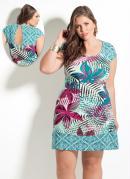 Vestido Quintess Mix de Folhagens Plus Size