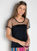 Blusa Juvenil com Detalhe de Tule Preta