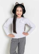 Blusa Infantil Branca Manga Longa Bufante