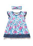 Vestido Floral com Babado e Faixa para Bebê