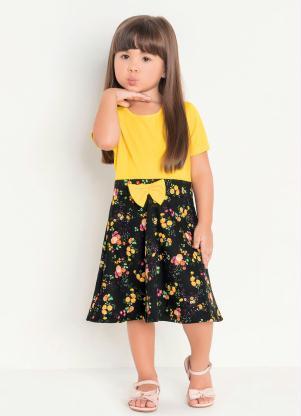 Vestido Infantil (Amarelo Floral) Moda Evangélica