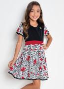Vestido Infantil Kollor Magic Preta e Flores