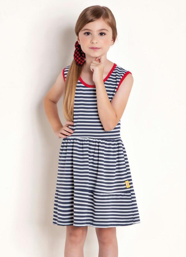 Vestido Infantil (Listrado) com Recortes