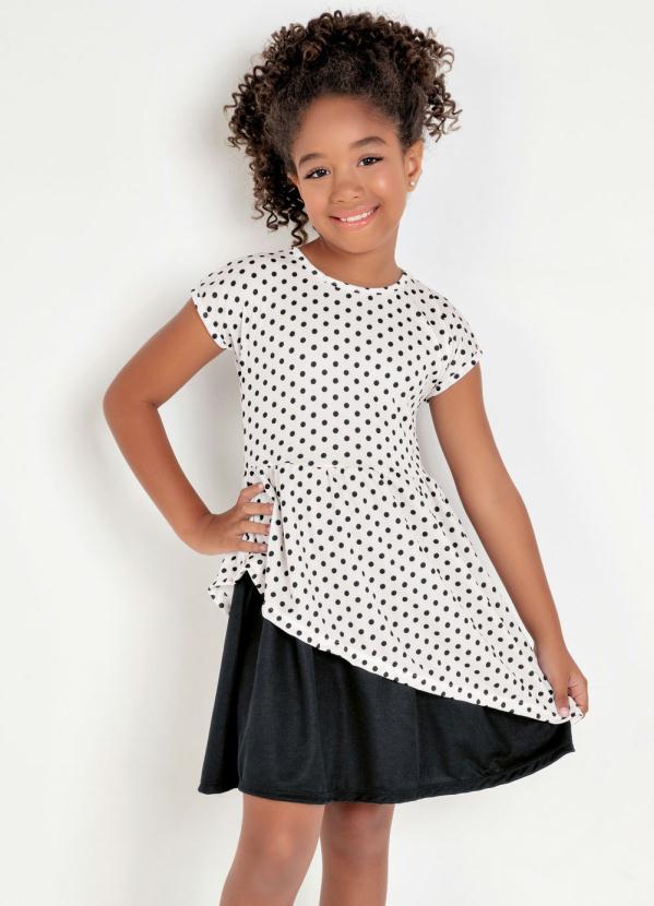 Vestido Infantil (Poá) Transpassado