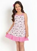 Vestido Infantil Raposas Rosa