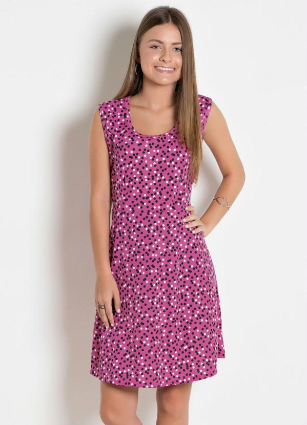 Vestido Juvenil (Poá e Pink)